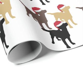 Papier Cadeau Chiens d'arrêt de Labrador dans Noël de casquette