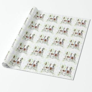 Papier Cadeau Chiens de vacances du vert de Noël du paquet |