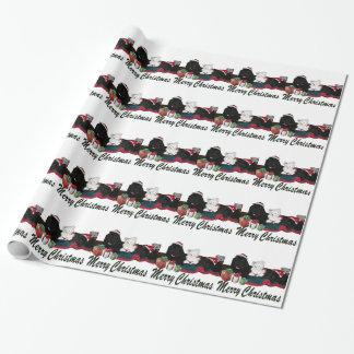 Papier Cadeau Chiens mignons de Terre-Neuve à Noël