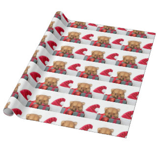 Papier Cadeau Chiot de Pomeranian de Noël