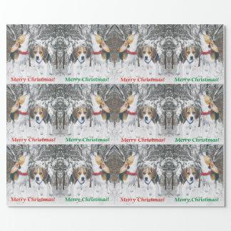 Papier Cadeau Chiots de beagle de Joyeux Noël et papier