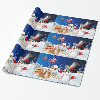 Papier Cadeau Chiwawa de Joyeux Noël avec givré