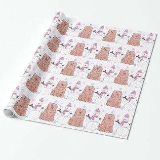 Papier Cadeau Chow-chow et bonhomme de neige de bouffe