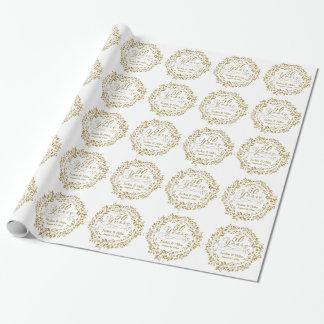 Papier Cadeau cinquantième Blanc d'or personnalisé par