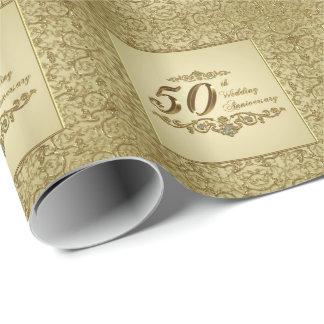 Papier Cadeau cinquantième Papier d'emballage d'anniversaire de