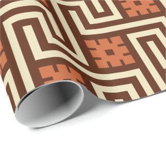 Papier Cadeau Clé grecque, Brown, beige et rouille de Deco