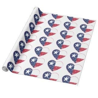 Papier Cadeau Coeur de drapeau du Texas affligé