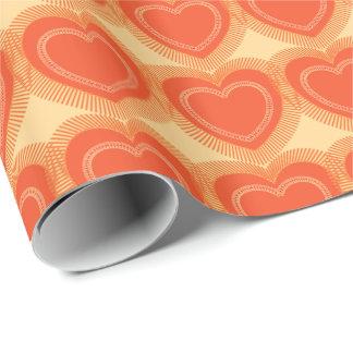 Papier Cadeau Coeurs abstraits modernes - mandarine