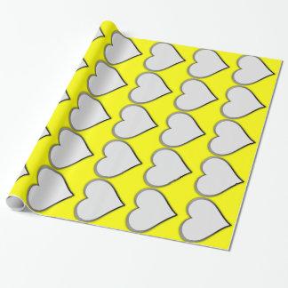 Papier Cadeau coeurs blancs en jaune lumineux