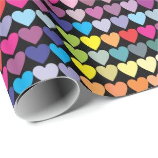 Papier Cadeau Coeurs colorés d'arc-en-ciel