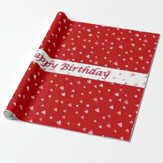Papier Cadeau Coeurs de joyeux anniversaire sur le papier rouge
