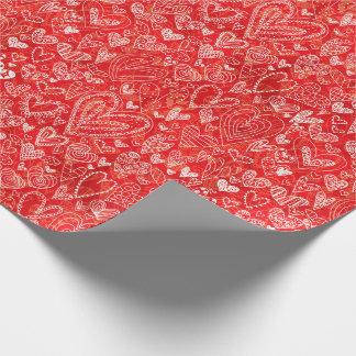 Papier Cadeau Coeurs de Saint-Valentin sur le rouge