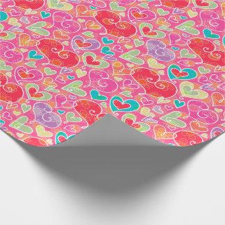 Papier Cadeau Coeurs et fleurs de Saint-Valentin