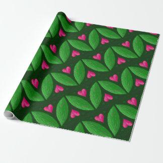 Papier Cadeau Coeurs romantiques et feuille - verts et couleurs