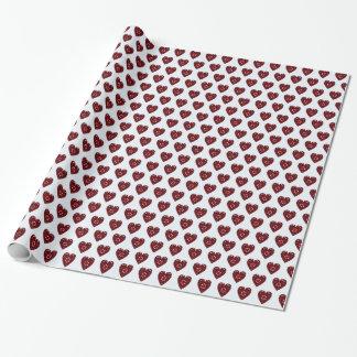 Papier Cadeau Coeurs romantiques rouge-foncé