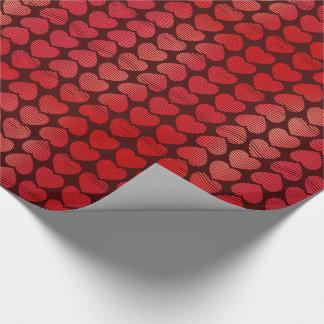 Papier Cadeau Coeurs rouges attrayants de Valentines