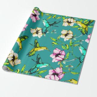 Papier Cadeau Colibris et fleurs enchantés d'aquarelle de jardin