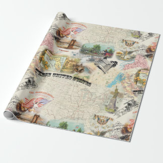 Papier Cadeau Collage americana vintage