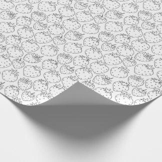 Papier Cadeau Colorez votre propre motif de fraises