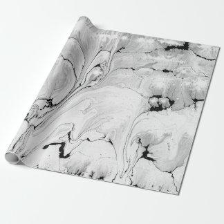 Papier Cadeau Conception de texture de l'eau noire et blanche,