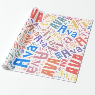 Papier Cadeau Conception nommée des textes d'AVA