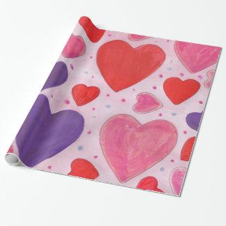Papier Cadeau Conception rose et pourpre rouge de coeurs de