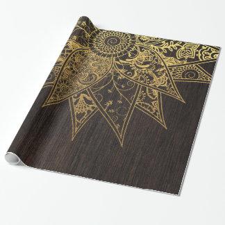 Papier Cadeau Conception tirée par la main de henné à la mode