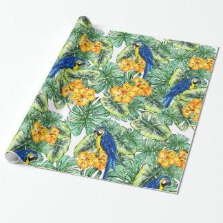 Papier Cadeau Conception tropicale de jungle de perroquet