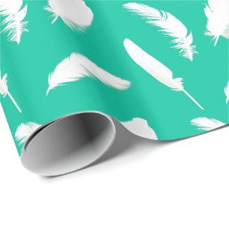 Papier Cadeau Copie de plume blanche sur la turquoise