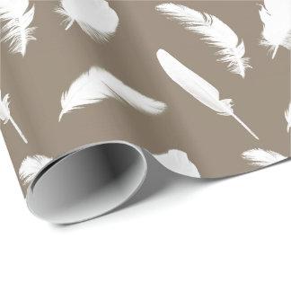 Papier Cadeau Copie de plume blanche sur le taupe