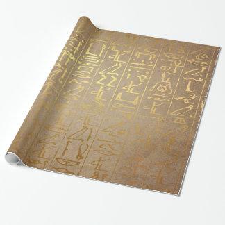 Papier Cadeau Copie égyptienne de papier de hiéroglyphes d'or