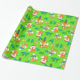 Papier Cadeau Copie mignonne de motif de thème de Noël de Fox