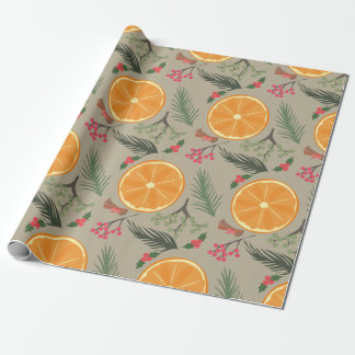 Papier Cadeau Copie orange de guirlande de Noël