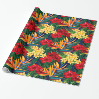 Papier Cadeau Copie sur toute la surface florale hawaïenne de