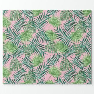 Papier Cadeau Copie tropicale - rose de palmiers