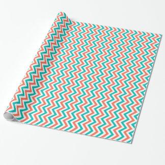 Papier Cadeau Corail, Teal, grand motif de zigzag blanc de