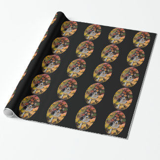 Papier Cadeau Corgi et conception de couleurs d'automne