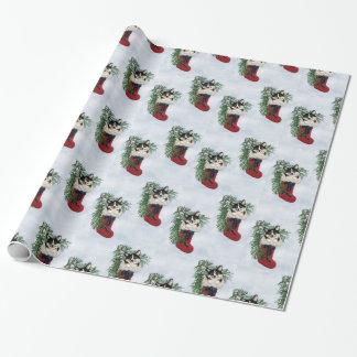 Papier Cadeau Corgi tricolore en papier d'emballage de bas
