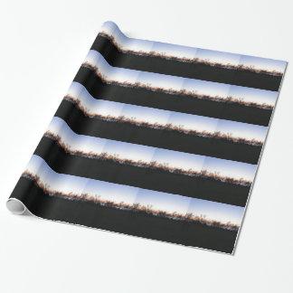 Papier Cadeau Coucher du soleil de mer avec la silhouette