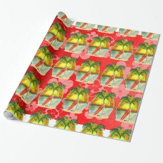 Papier Cadeau Coucher du soleil de plage de Noël