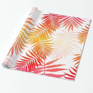 Papier Cadeau Coucher du soleil tropical d'été de feuille de