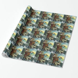 Papier Cadeau Coucher du soleil vintage de chien de télescope du