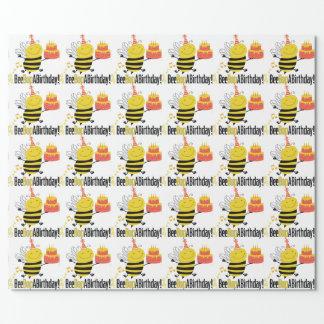 Papier Cadeau Coup de poing d'abeille par anniversaire
