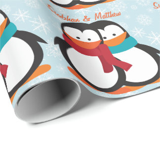 Papier Cadeau Couples de pingouin de Noël d'amusement