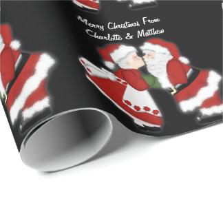 Papier Cadeau Couples du père noël de baiser de Noël