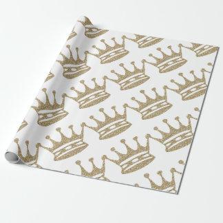 Papier Cadeau Couronne de scintillement d'or