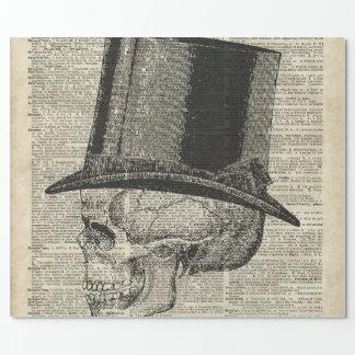 Papier Cadeau Crâne avec le pochoir de casquette de victorian