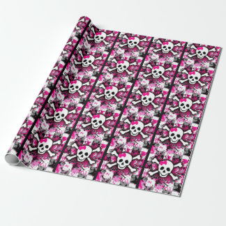 Papier Cadeau Crâne Girly punk rose
