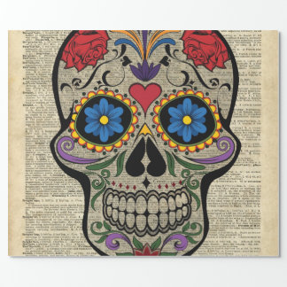 Papier Cadeau Crâne heureux, crâne de sucre, Halloween, art de