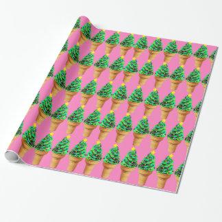 Papier Cadeau Crème glacée rose moderne mignonne d'arbre de Noël